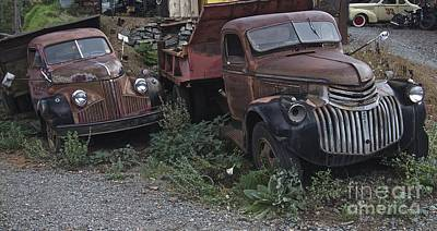 Route 66 Photograph - Old Dumptrucks by Anthony Jones