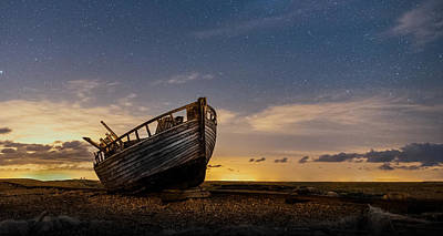 Photograph - Old Dungeness Fishing Boat Under The Stars by David Attenborough