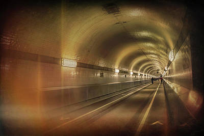 Alter Photograph - Old Elbe Tunnel Hamburg  by Carol Japp