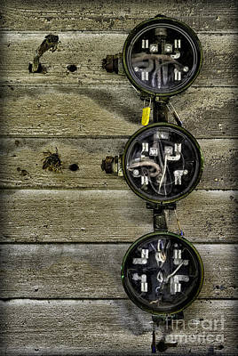 Photograph - Old Electric Meters  by Walt Foegelle