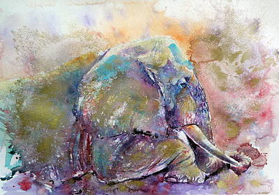 Yellow Elephant Painting - Old Elephant by Kovacs Anna Brigitta