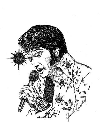 Old Tv Drawing - Old Elvis by Jennifer Campbell Brewer