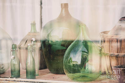 Old Empty Wine Bottles Behind The Glass Art Print