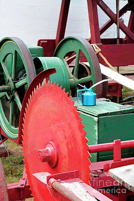Circular Saw Digital Art - Old Engine And Saw Blade At A County Fair by William Kuta