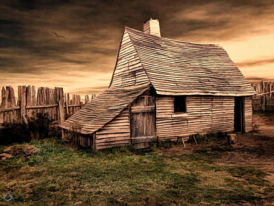 Pasture Digital Art - Old English Barn by Lourry Legarde