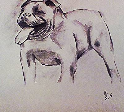 English Bull Dog Drawing - Old English Bull by Crystal Webb