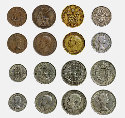Sterling Silver Photograph - Old English Coins by Rick Deacon