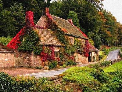 Old English Cottage In Autumn Colours L B Art Print by Gert J Rheeders