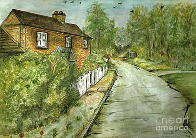 Art Print featuring the painting Old English Cottage by Teresa White