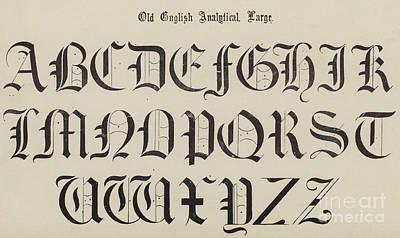 Typography Drawing - Old English Font by English School