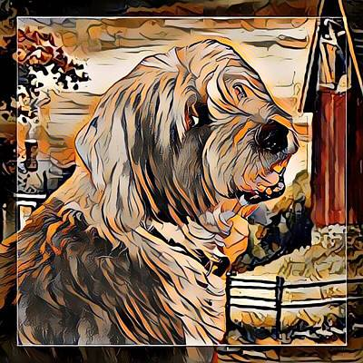 Digital Art - Old English Sheepdog by Kathy Kelly