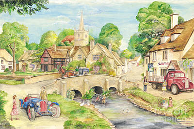 Briton Painting - Old English Village by Morgan Fitzsimons