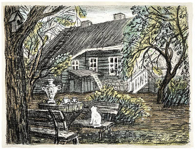 Old Europe In Stone Lithography. Young Green Leaves On Garden Trees, Samovar, White Cat On Bench Art Print by Elena Abdulaeva