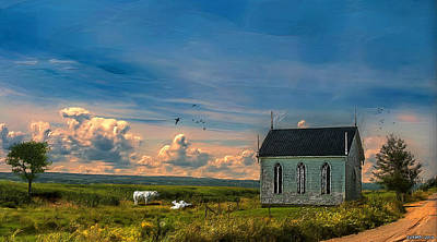 Old Country Roads Digital Art - Old Evangeline Church by Ken Morris