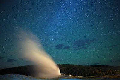 Yellowstone Digital Art - Old Faithful A Meteor, The Aurora, Andromeda Galaxy And The Milky Way by James Anderson