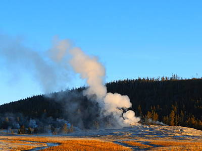 Photograph - Old Faithful At Dawn by Adam Cornelison