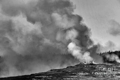 Photograph - Old Faithful At Rest In Black And White by Nadalyn Larsen