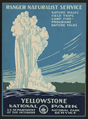 Yellowstone Digital Art - Old Faithful At Yellowstone by Unknown
