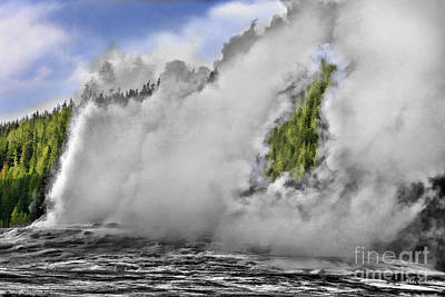Photograph - Old Faithful Geyser Godzilla Outline by Blake Richards