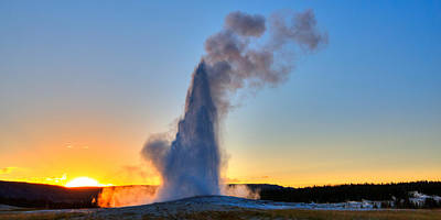 Yellowstone Digital Art - Old Faithful Is Still Faithful by James Anderson