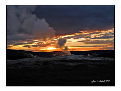 Photograph - Old Faithful Sunset by Joan  Minchak