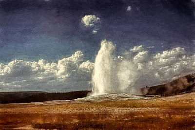 Yellowstone Digital Art - Old Faithful Vintage 10  by Cathy Anderson