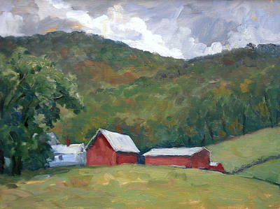 Abstract Realist Landscape Painting - Old Farm Berkshires by Thor Wickstrom