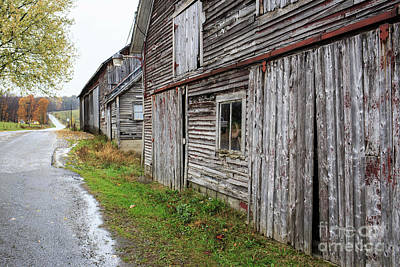 Old Country Roads Photograph - Old Farm Buildings Along The Road In Stowe Vermont by Edward Fielding