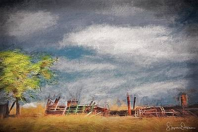 Rural Decay Mixed Media - Old Farm Equipment - Antelope Island - Signed Limited Edition by Steve Ohlsen