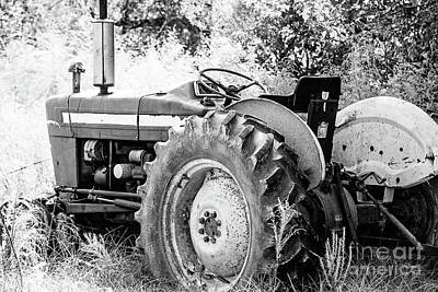 Photograph - Old Farm Ford Tractor - Bw by Scott Pellegrin