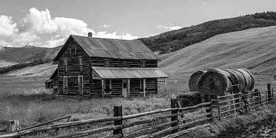 Black Butte Ranch Photograph - Old Farm House Black And White by Aaron Spong