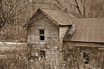 Old Farm House In Sepia 6 Art Print