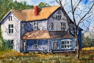 Impressionistic Landscape Drawing - Old Farm House -watercolor Landscape by Barry Jones