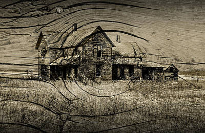 Sepia Vintage Farmhouse Photograph - Old Farm House With Wood Grain Overlay by Randall Nyhof