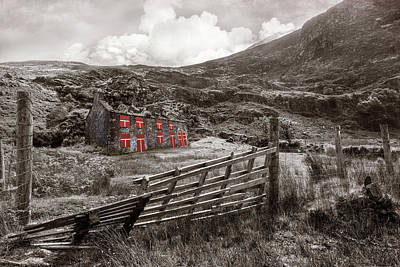Photograph - Old Farm In The Irish Countryside In Sepia With Red Color Select by Debra and Dave Vanderlaan