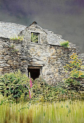 Abandoned Building Drawing - Old Farm Near Betws Y Coed by Alwyn Dempster Jones