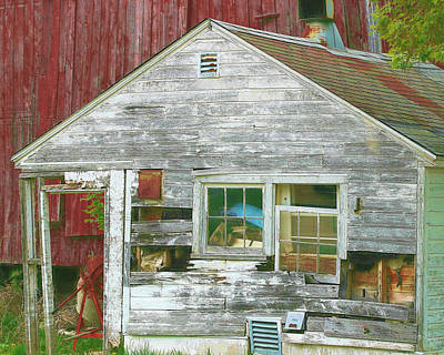 Old Farm Shed Art Print by Elaine Frink