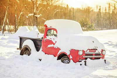 Dodge Truck Wall Art - Photograph - Old Farm Truck In The Snow by Edward Fielding