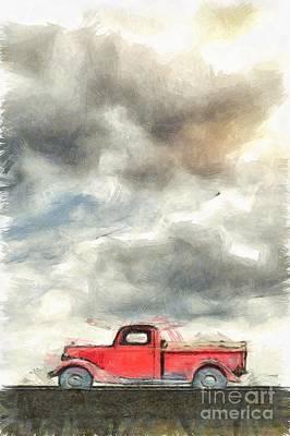 Old Farm Truck Pencil Art Print by Edward Fielding