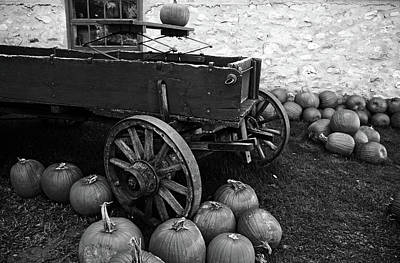 Photograph - Old Farm Wagon And Pumpkins Black And White by Debbie Oppermann