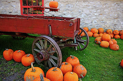 Photograph - Old Farm Wagon And Pumpkins by Debbie Oppermann