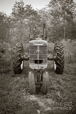 Photograph - Old Farmall Tractor Springfield New Hampshire Sepia by Edward Fielding