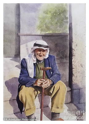 Damascus Painting - Old Farmer by Alber Assi