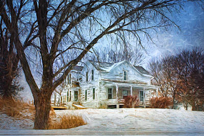 Papillion Photograph - Old Farmhouse - Winter by Nikolyn McDonald