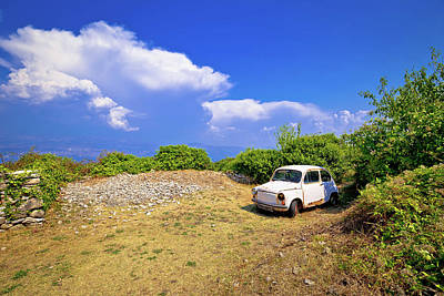 Photograph - Old Fashion Car Wreck In Nature In Skrip Vilage On Brac Island by Brch Photography
