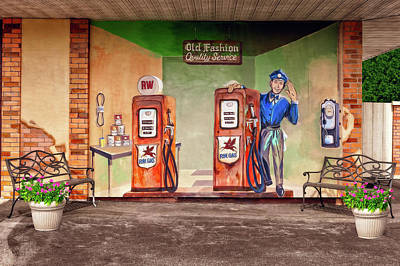 Photograph - Old Fashion Quality Service  -  Oldfashiongaragewallmural141146 by Frank J Benz