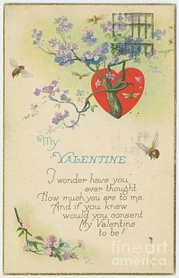 Special Occasion Drawing - Old Fashion Valentine One by Pd