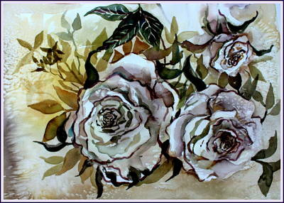 Sisters Drawing - Old Fashion White Roses by Mindy Newman