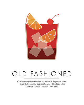 Old Mixed Media - Old Fashioned Classic Cocktail -  Minimalist Print by Studio Grafiikka