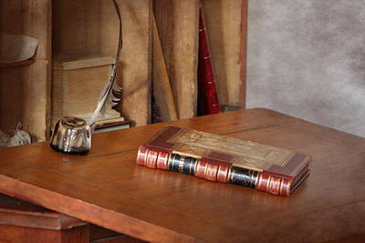 Photograph - Old Fashioned Desk With Antique Book And Quill Photograph by Colleen Cornelius